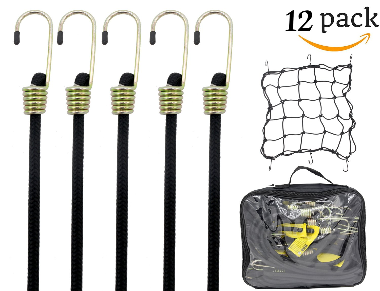 Blissun Heavy Duty Bungee Cord with Hooks, 36'' Industrial Quality Bungee Core, Free Bonus Cargo Net, All Black (12 Pack)