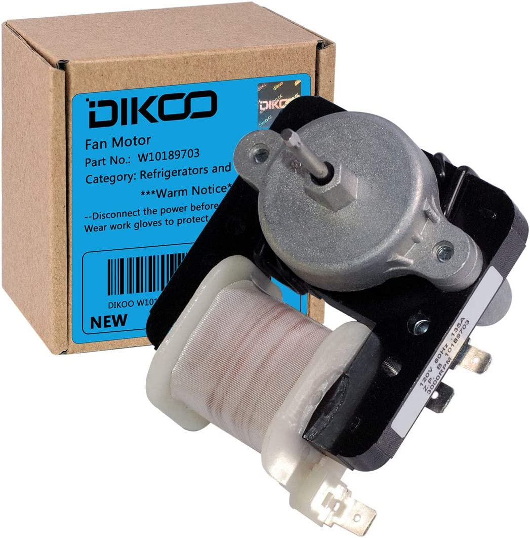 DIKOO W10189703 Refrigerator Freezer Evaporator Fan Motor for Whirlpool, Maytag, Roper Replaces 10449505, 10449506, 2188848, 2197381, 2197443, W10189703