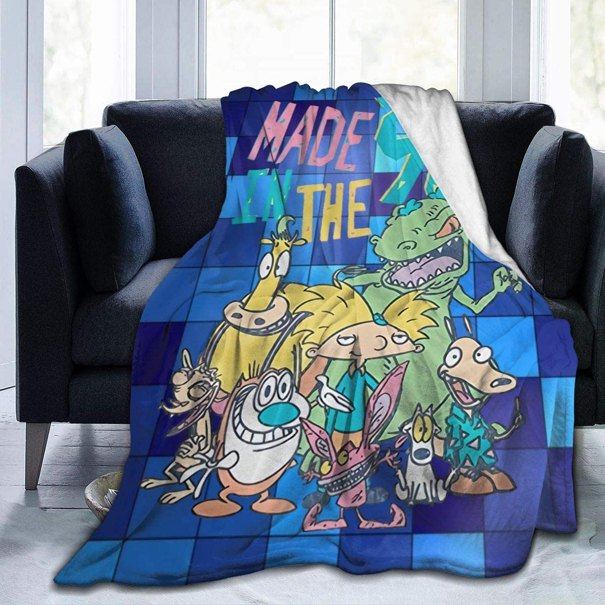 """SusanRobey 90's Old School Hey Arnold! Ren & Stimpy Show Soft and Warm Anti-Pilling Micro Fleece Blanket 3D Printed Art Cozy Autumn and Winter Blanket 50""""x40"""""""