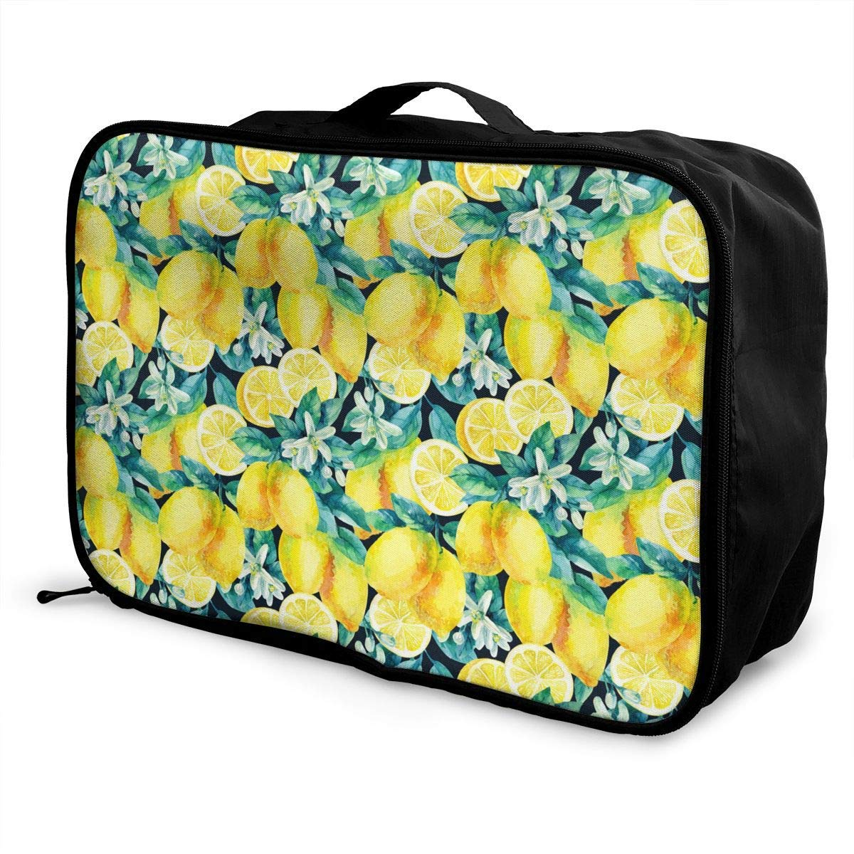 Portable Luggage Duffel Bag Watercolor Lemon Fruit Branch Leaves Pattern Travel Bags Carry-on In Trolley Handle