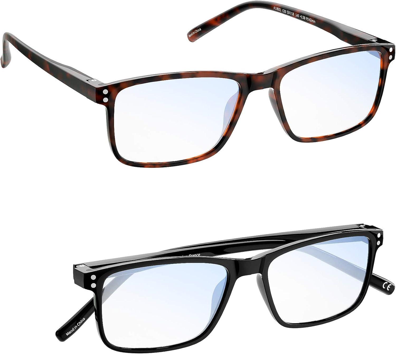 Gafas luz azul Hombre Mujer MADEYES Gafas de Lectura Buena Vision Anti fatiga visual TR90 Ligero Protección 410UV (1 Negro 1 Marrón, 1.00 Dioptero)