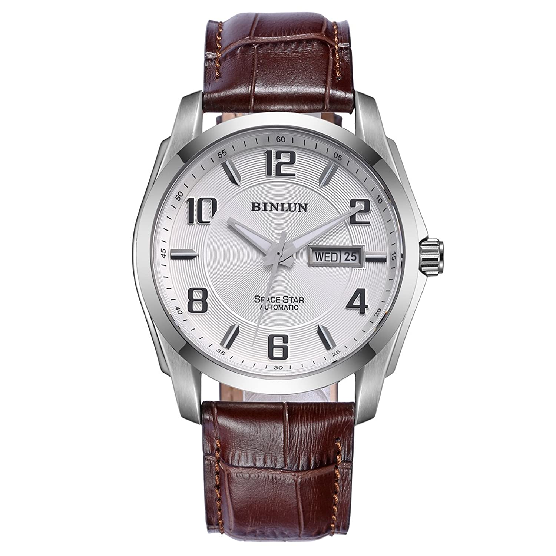 Binlun自動Watches for Menアウトドアブラウンレザー防水Mechanical Watch with Day Date B01E9US6DE