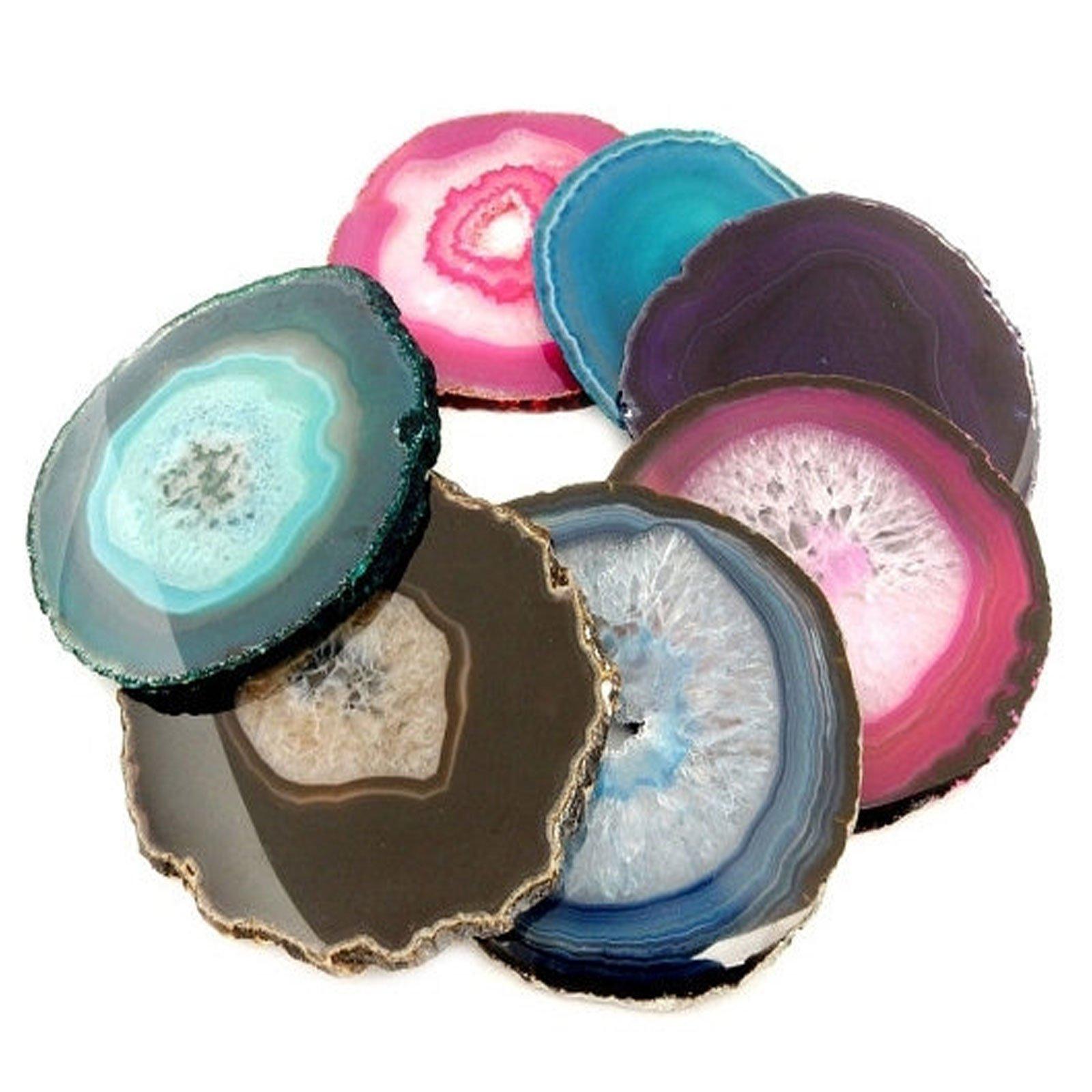 4 (FOUR) Agate Slice Coaster - Mixed Colored Agate Coasters Rock Paradise COA (AM10B3)