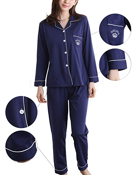 SHEKINI Set de Pijama Camisero Largo de Algodón para Mujer, Conjunto de Pijama Clásico Mujer