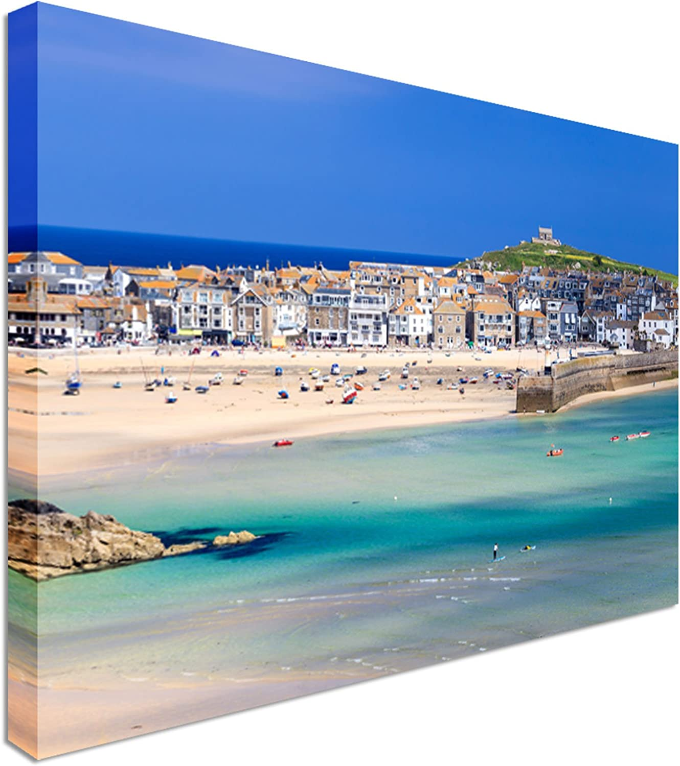 St Ives harbour panoramic canvas print Cornwall framed picture