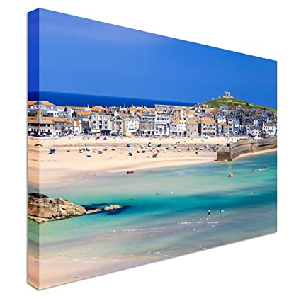 Porthminster Beach St Ives Cornwall 12x16 inches | Canvas Art Cheap Wall  Print - high quality, classic style canvas prints, premium wooden frames