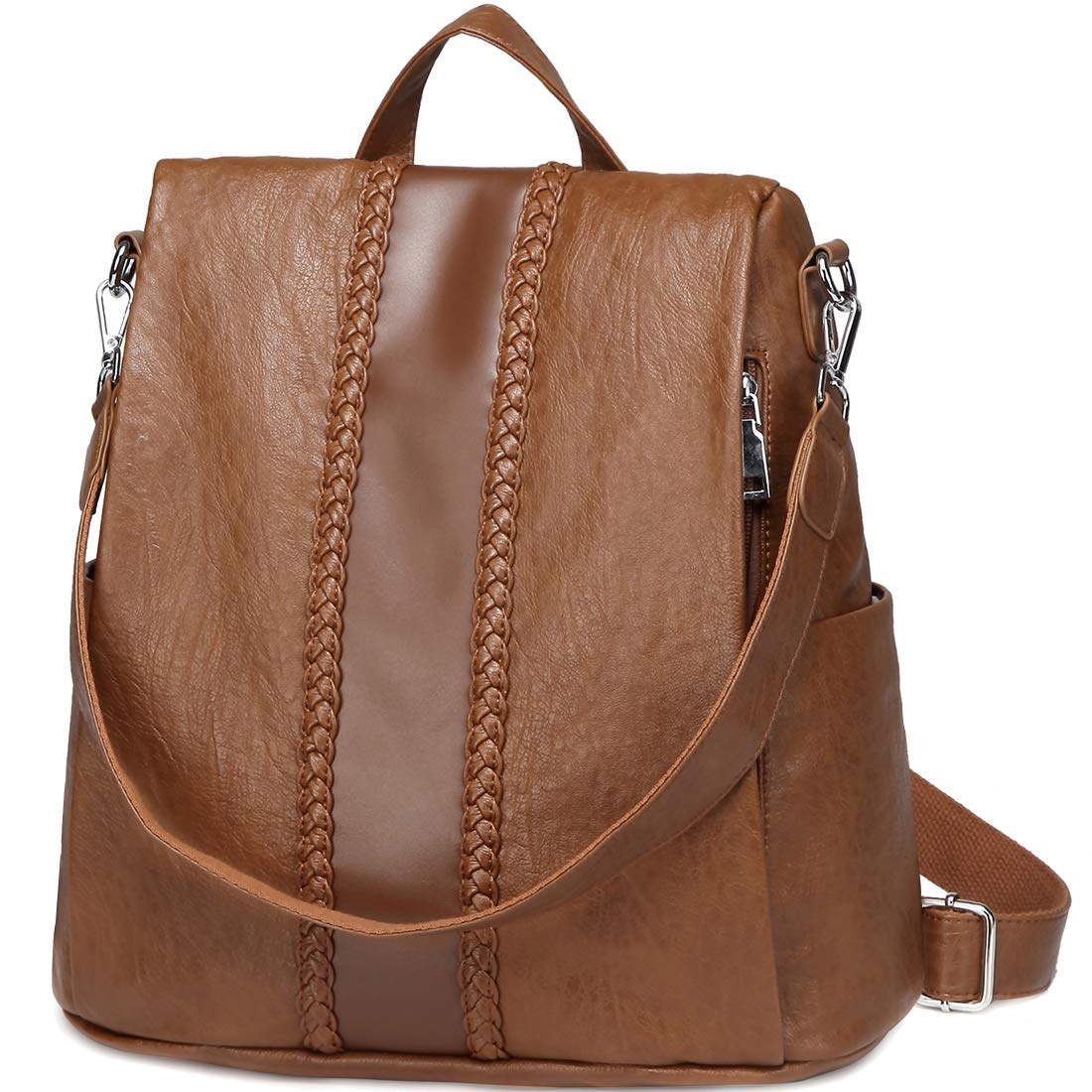 Backpack Purse for Women,VASCHY Fashion Faux Leather Convertible Anti-theft Backpack for Ladies with Vintage Weave Brown by VASCHY (Image #1)
