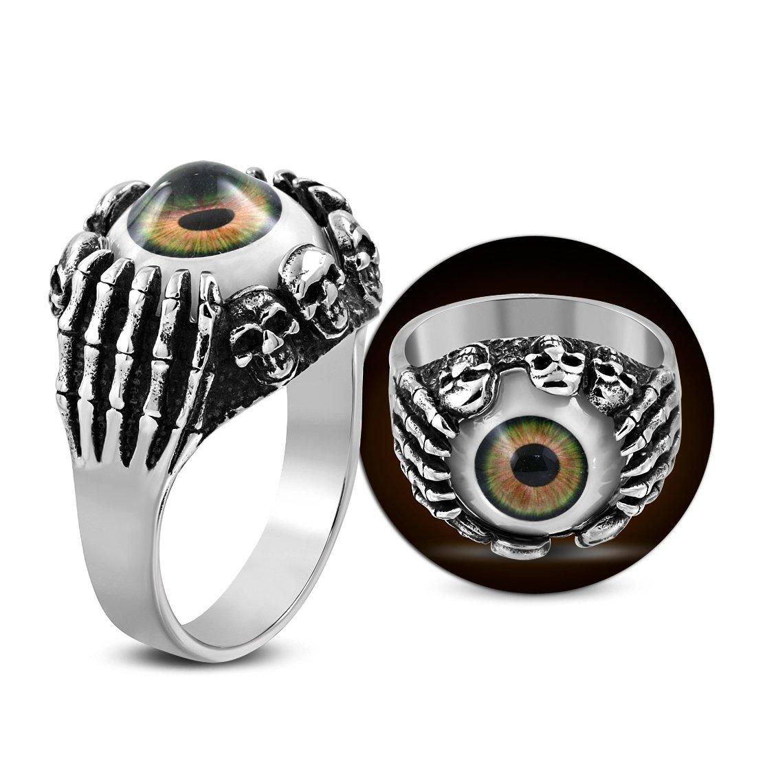 Stainless Steel 3 Color Brown Eyeball Demon Skull Hand Claw Biker Ring