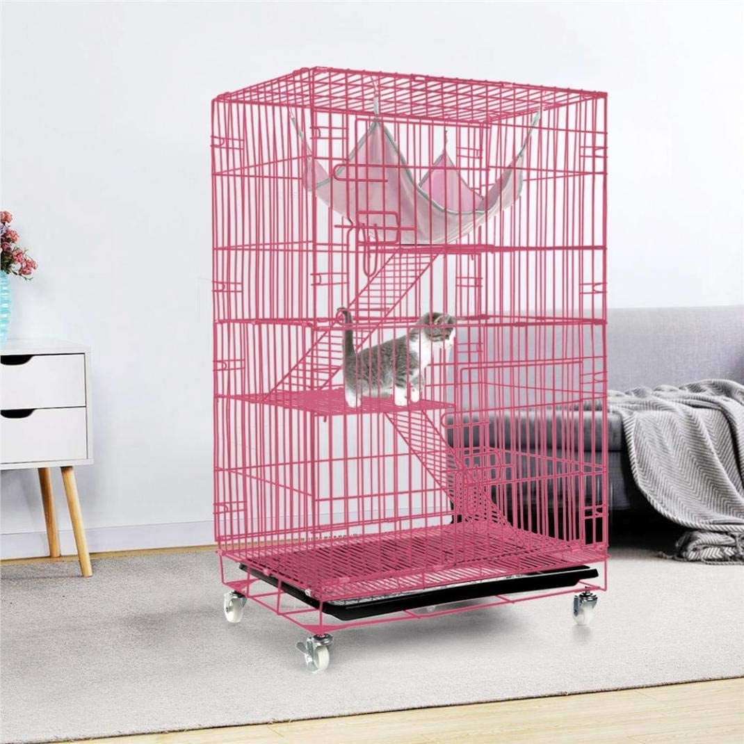 ZTTD New Luxury 3-Layer Pet Cage with Ramp Pet Playpen Hammock Metal Shell Foldable Metal Cat and Kitten Cage 360/° Swivel Casters Pink