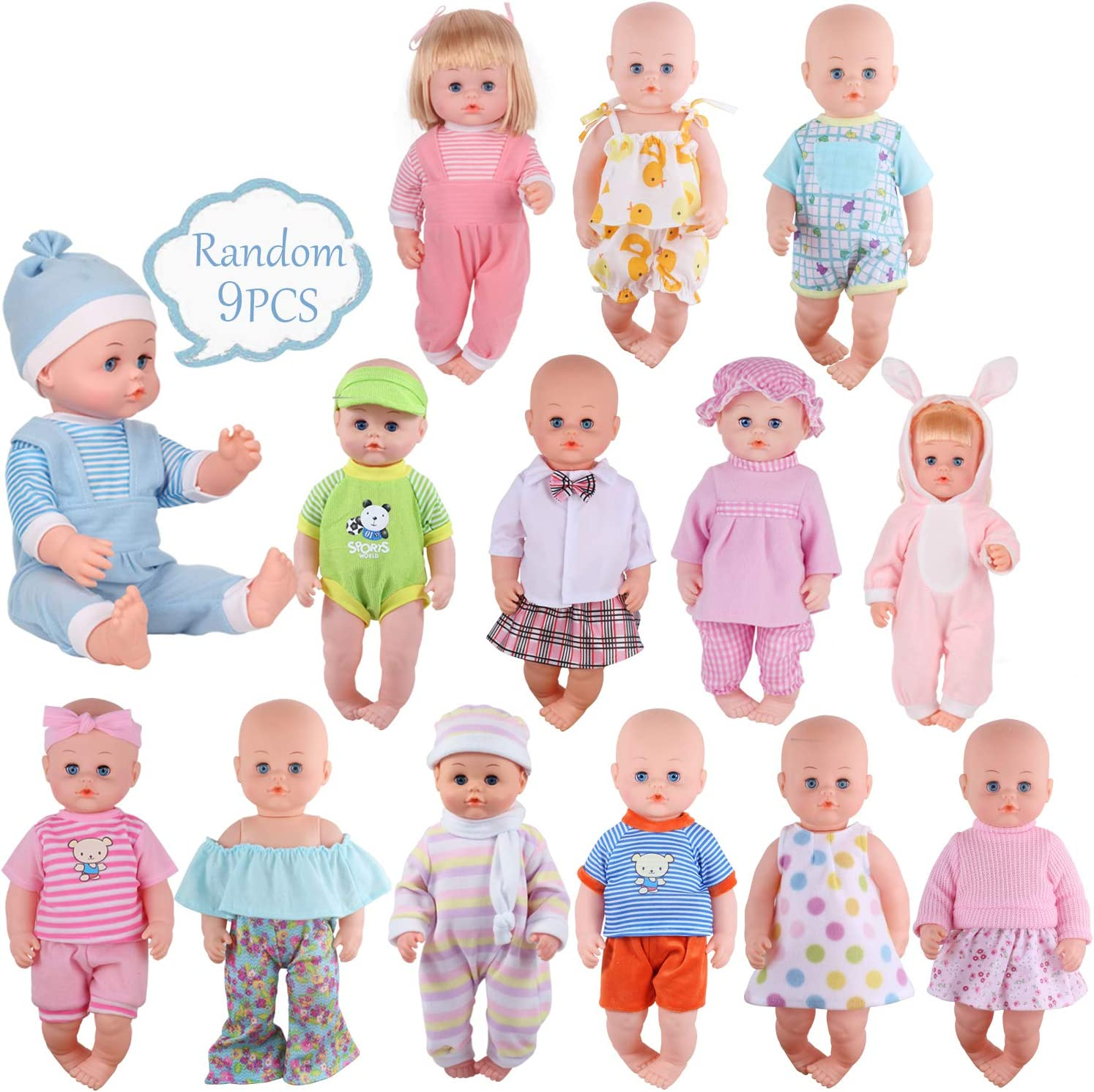 Amazon.com: Young Buds 9 Sets for 14-15 Inch Alive Baby Doll and 18-inch  America Doll Dress Clothes Outfits Cotton Clothing Multicolored: Toys &  Games