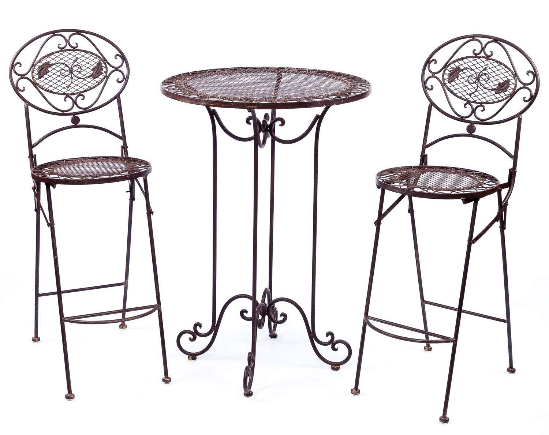 aubaho Stehtisch + 2 Barhocker Garnitur Tisch Garten Bar Antikstil Garden funiture