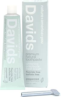 product image for Davids Natural Toothpaste, Whitening, Antiplaque, Fluoride Free, SLS Free, Peppermint, 5.25 OZ Metal Tube, Tube Roller Included