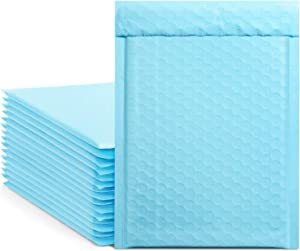 Metronic 25Pcs Poly Bubble Mailers, 6X10 Inch Padded Envelopes Bulk #0, Bubble Lined Wrap Polymailer Bags for Shipping/Packaging/Mailing Self Seal -Light Blue
