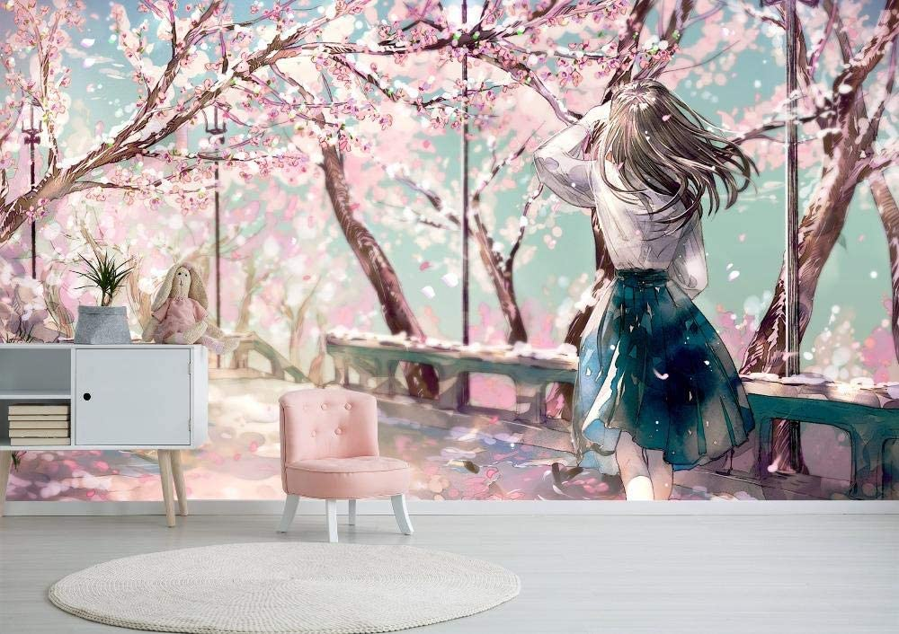 Kahsfa 3d Hd Print Wallpaper Mural Pink Sakura Garden Girl Japanese Anime Wallpaper Bedroom Living Room Wall Decoration 200cmx140cm Wallpaper Amazon Canada