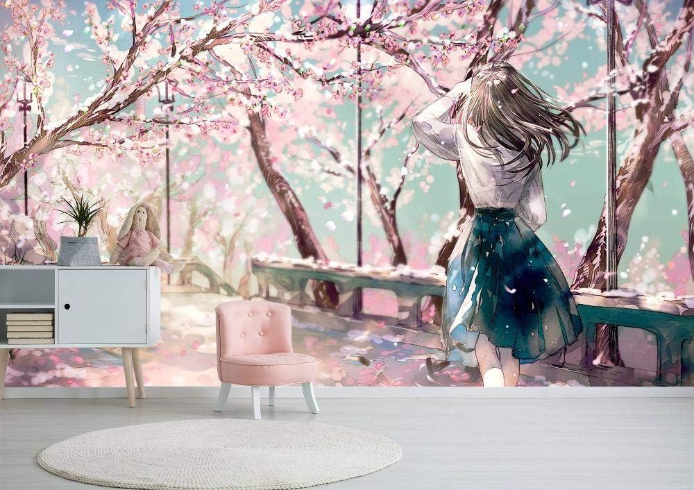 Kahsfa 3d Hd Print Wallpaper Mural Pink Sakura Garden Girl Japanese Anime Wallpaper Bedroom Living Room Wall Decoration 200cmx140cm Wallpaper Amazon Canada