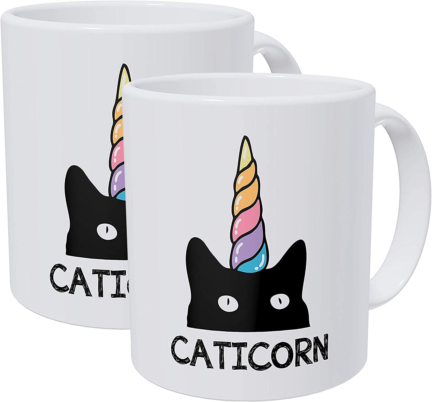 Willcallyou Pack of 2 I'm A Caticorn Black Cat Unicorn Horn 11 Ounces Funny White Coffee Mug