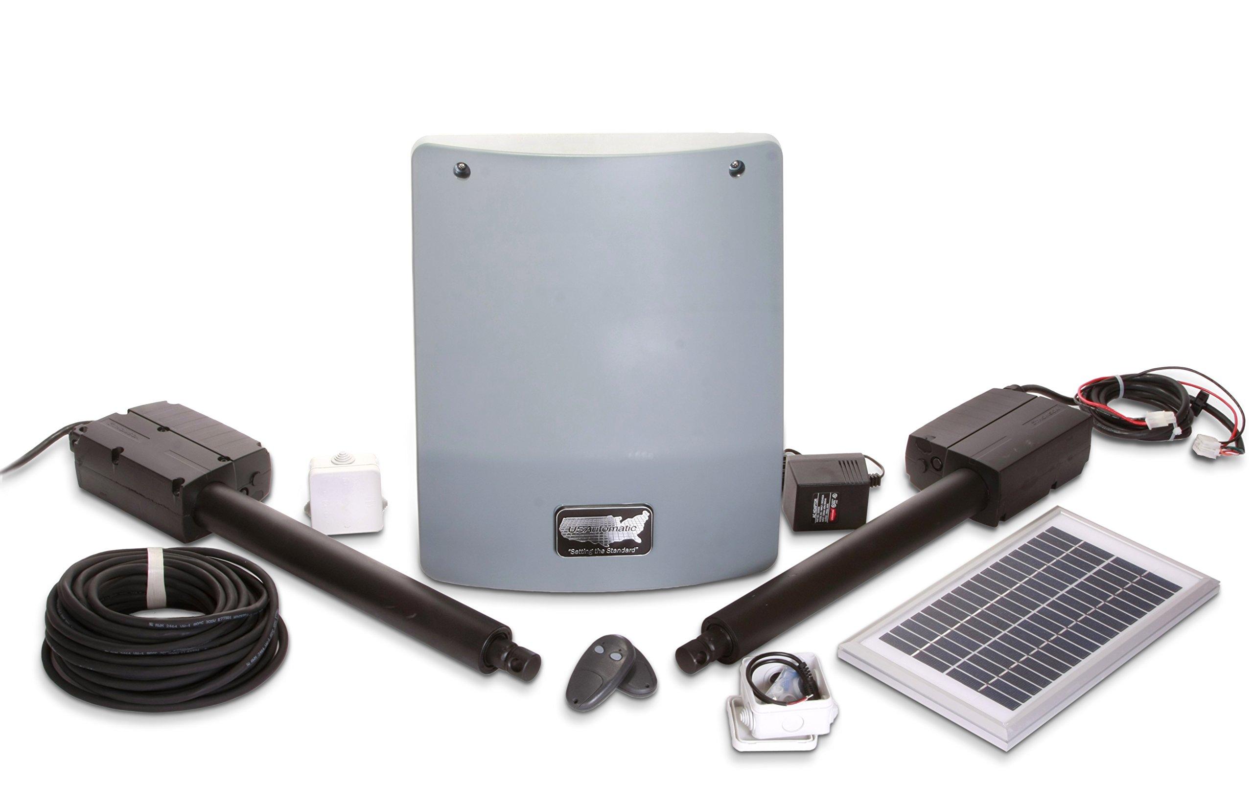 USAutomatic 020335 Medium 300 Solar Charged Automatic Gate Opener Double Gate Basic Kit