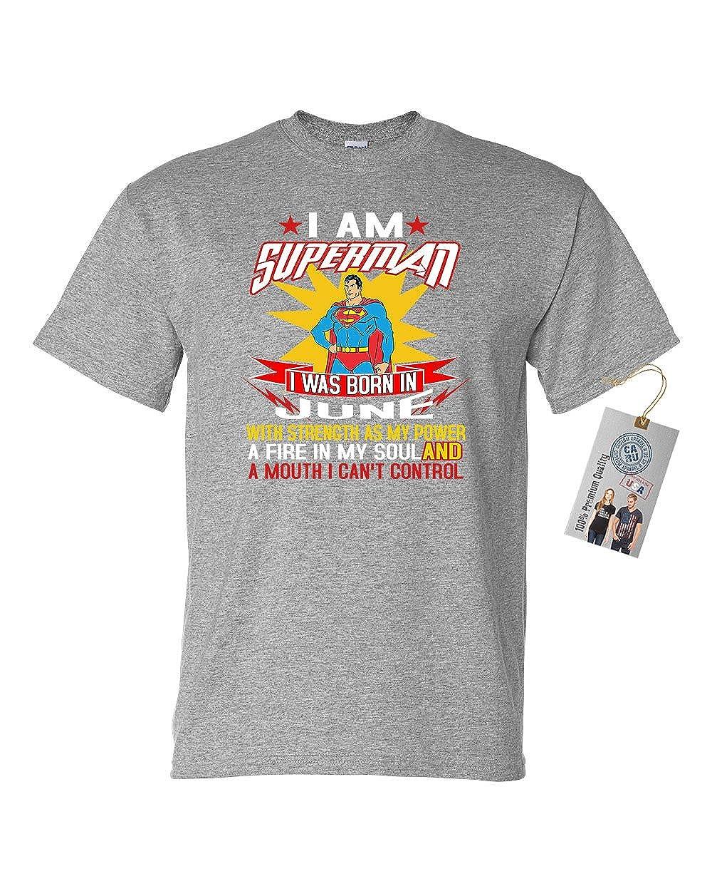 Superman Born in June Super Hero Mens Graphic Tees Short Sleeve T-Shirt