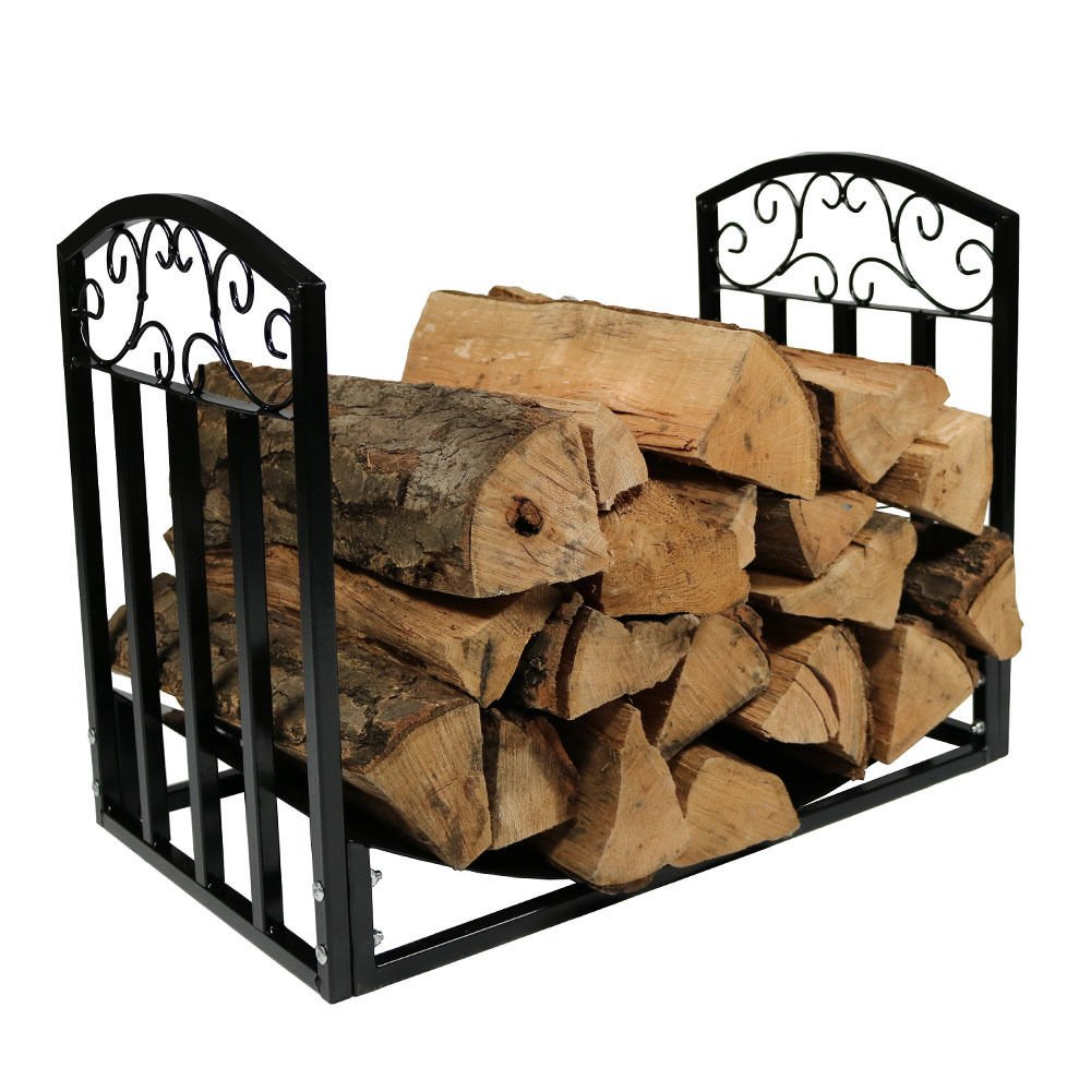 New Black 2ft Firewood Log Rack Heavy Duty Wood Storage Holder