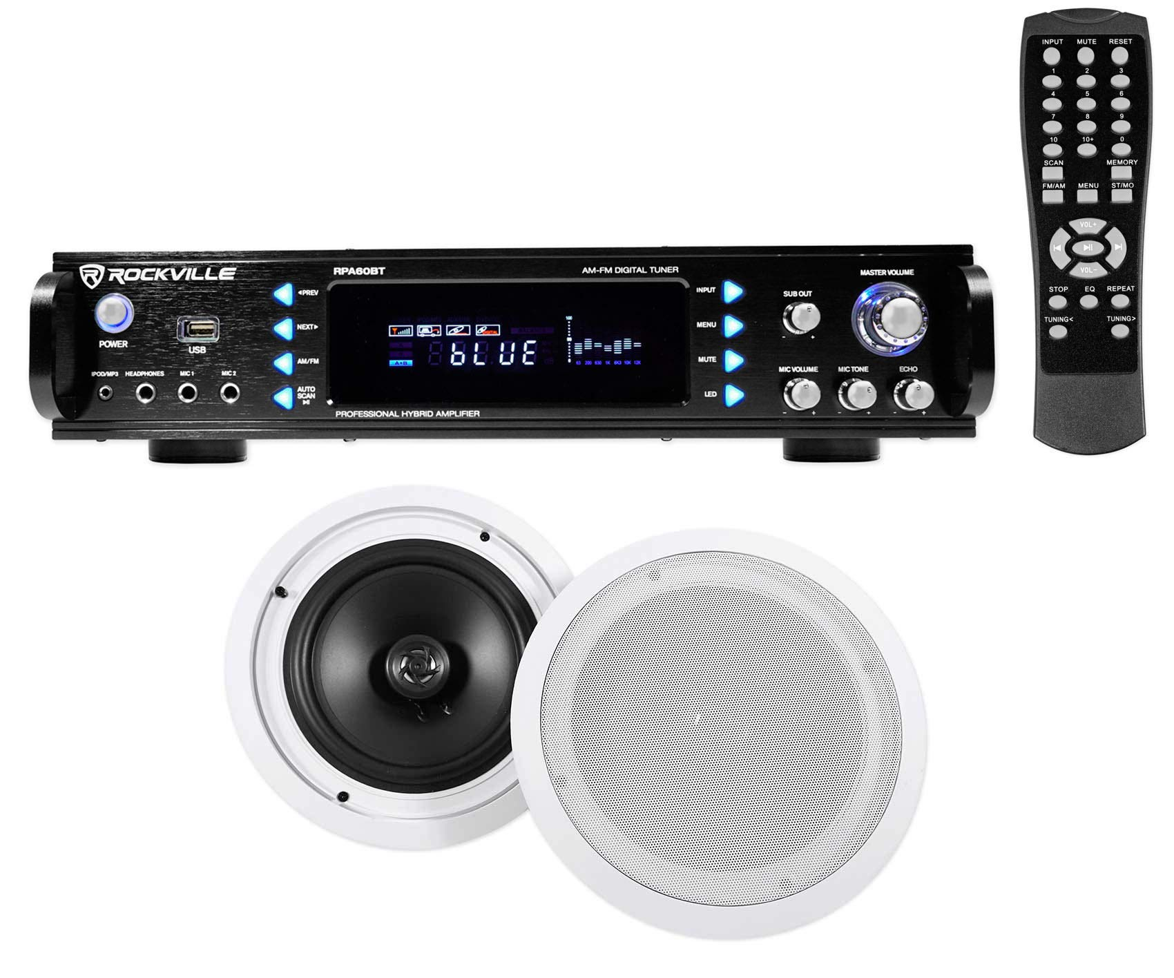 Rockville RPA60BT Home Theater Bluetooth Receiver + (2) 8'' in-Ceiling Speakers