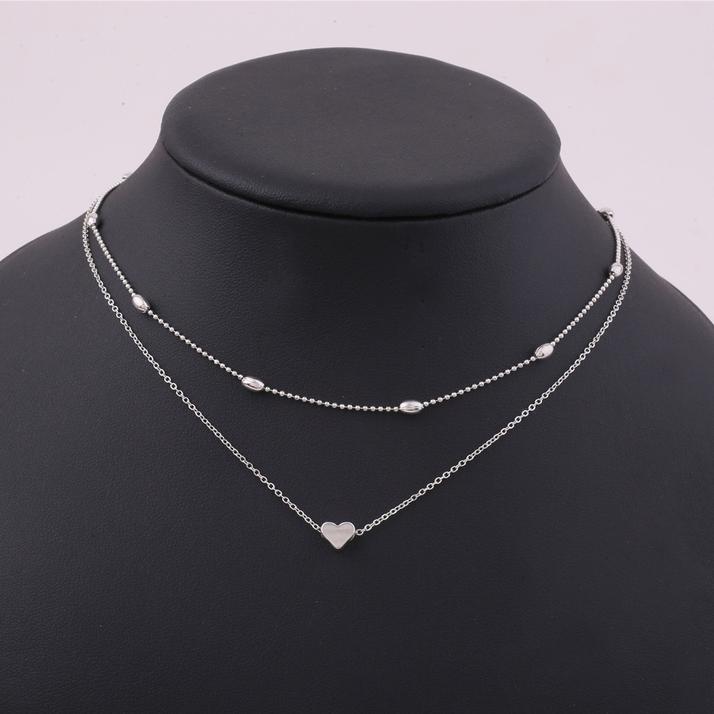 Anqifull Dainty Layered Gold Chocker Handmade Beads Fill Heart White Opal Necklace for Women Girls 012 by Anqifull (Image #8)