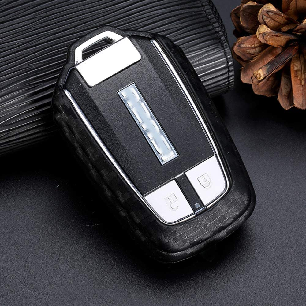 Black Silicone Carbon Fiber Smart keyless Remote Key Fob case Cover for Buick Verano Regal Lacross Encore Envision Enclave GL8 2015 2016 2017 2018 2019 Keychain for Buick Smart Key fob Royalfox TM