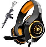 Orange Gaming Headset for New Xbox One PS4 PC Laptop Tablet with Mic, Over Ear Headphones, Noise Canceling, Stereo Bass…