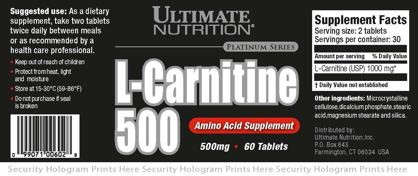 Ultimate Nutrition L-Carnitine (60 Tablets - 500mg)