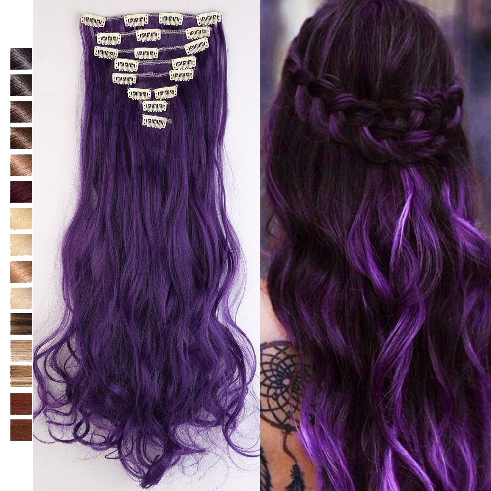 S-noilite 24 Inches Long Curly Full Head Clip in Synthetic Hair Extensions 8pcs 170g (24''-Curly, Black Purple) by S-noilite