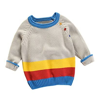 Birdfly Toddler Baby Color Block Striped Knit Sweater Warm Pullover Tops Kids Fall Winter Clothes Outfits
