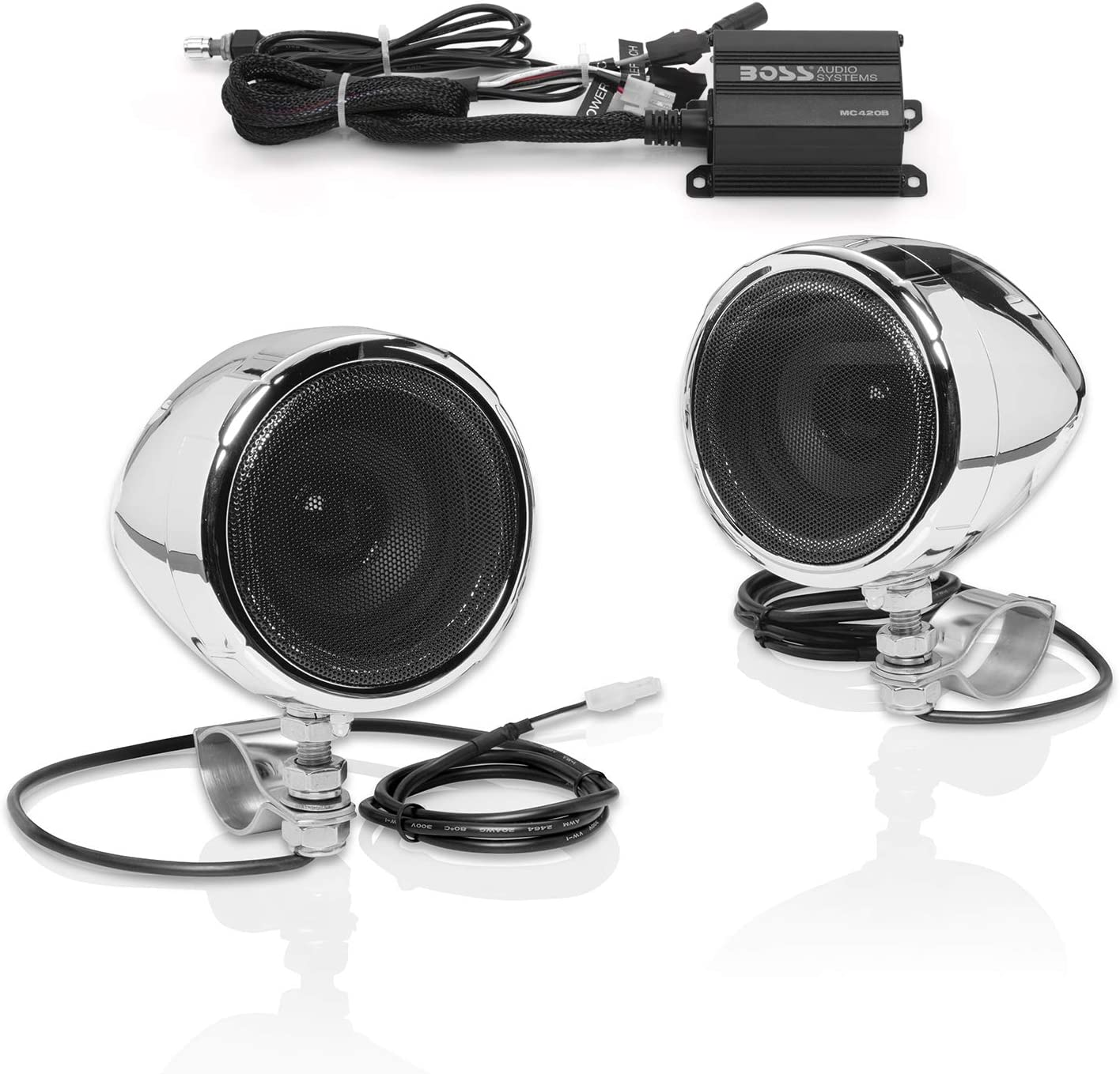 Amazon.com: BOSS Audio Systems MC420B Motorcycle Speaker System – Class D Compact Amplifier, 3 Inch Weatherproof Speakers, Volume Control, Great for ATVs, Motorcycles and All 12 Volt Vehicles: Car Electronics