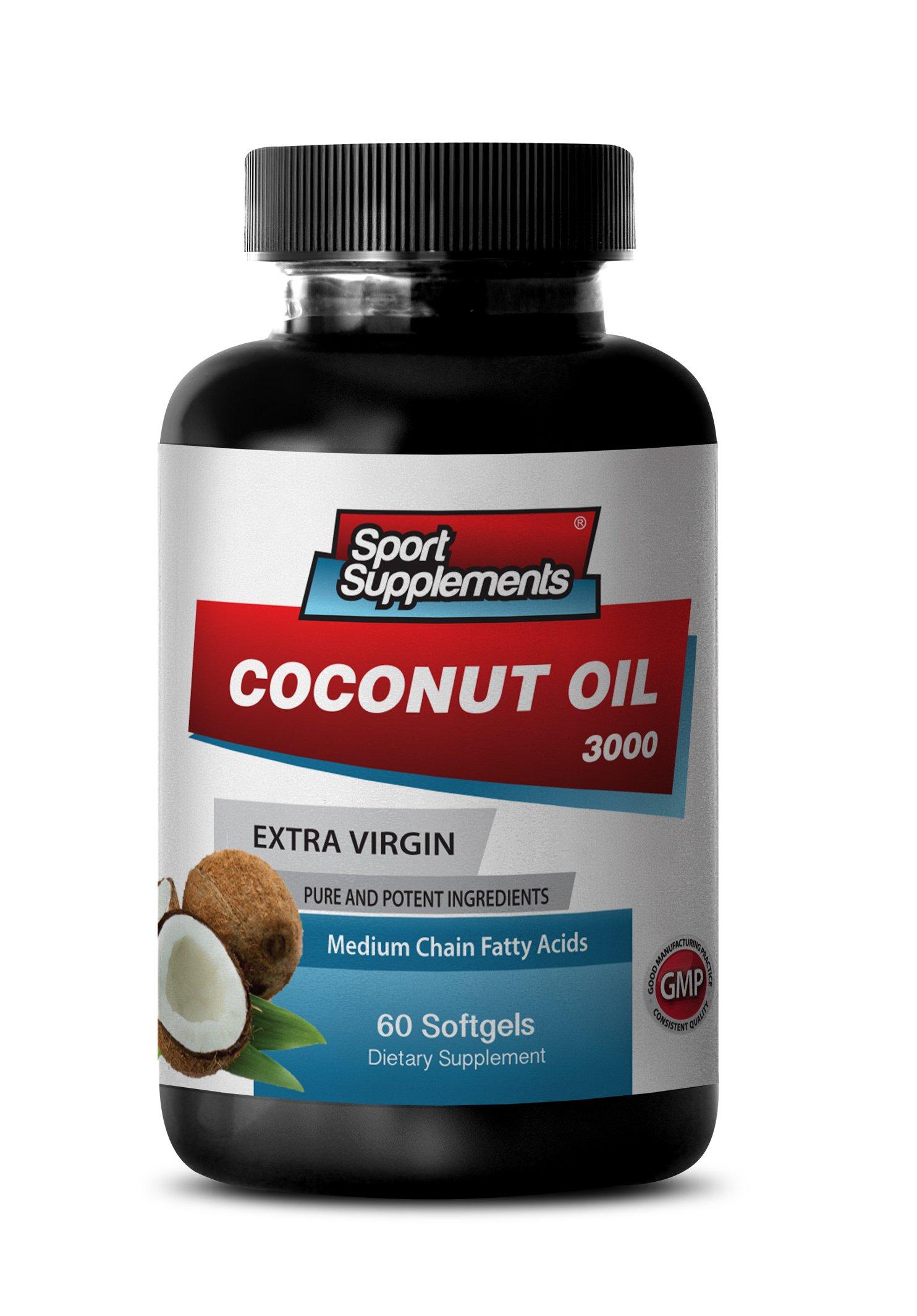 Organic Coconut Oil Cold Pressed - Extra Virgin Coconut Oil 3,000mg - Coconut Oil Healthy Energy Booster (1 Bottle 60 Softgels)