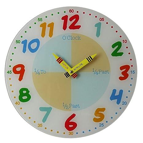 Enseñar a aprender a Tell tiempo maestro niños leer pared analógico reloj 30 cm de cristal