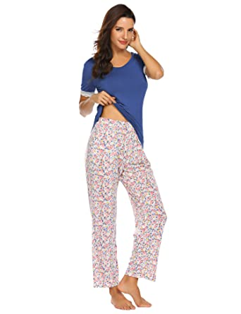 35a75c8277 Damen Schlafanzug Sommer Pyjama Set Baumwolle Jersey Frauen Nachtwäsche  Zweiteilig Hausanzug kurz Schlafshirt mit lang Hosen