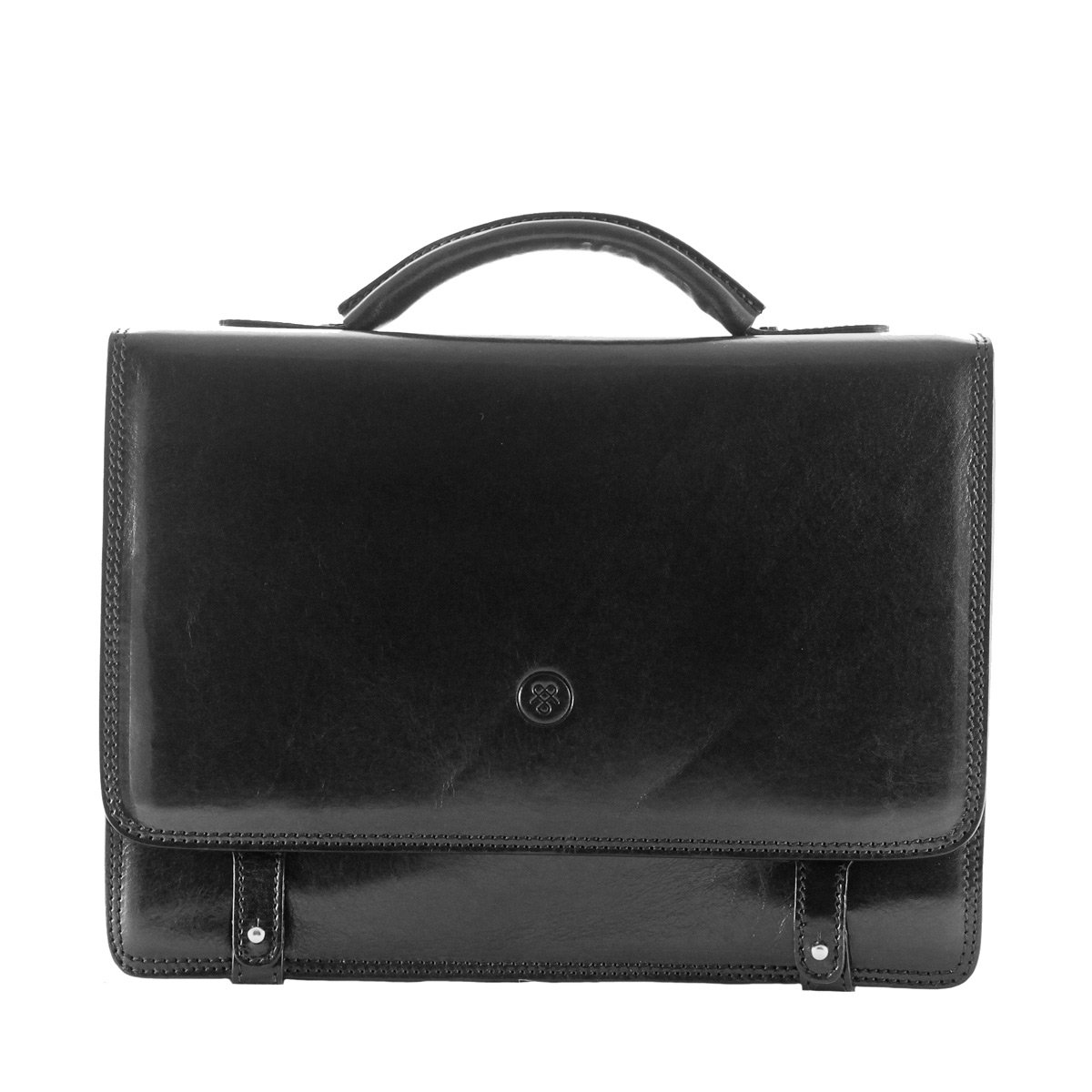 Maxwell Scott Luxury Black Leather Mens Satchel (The Battista) - One Size