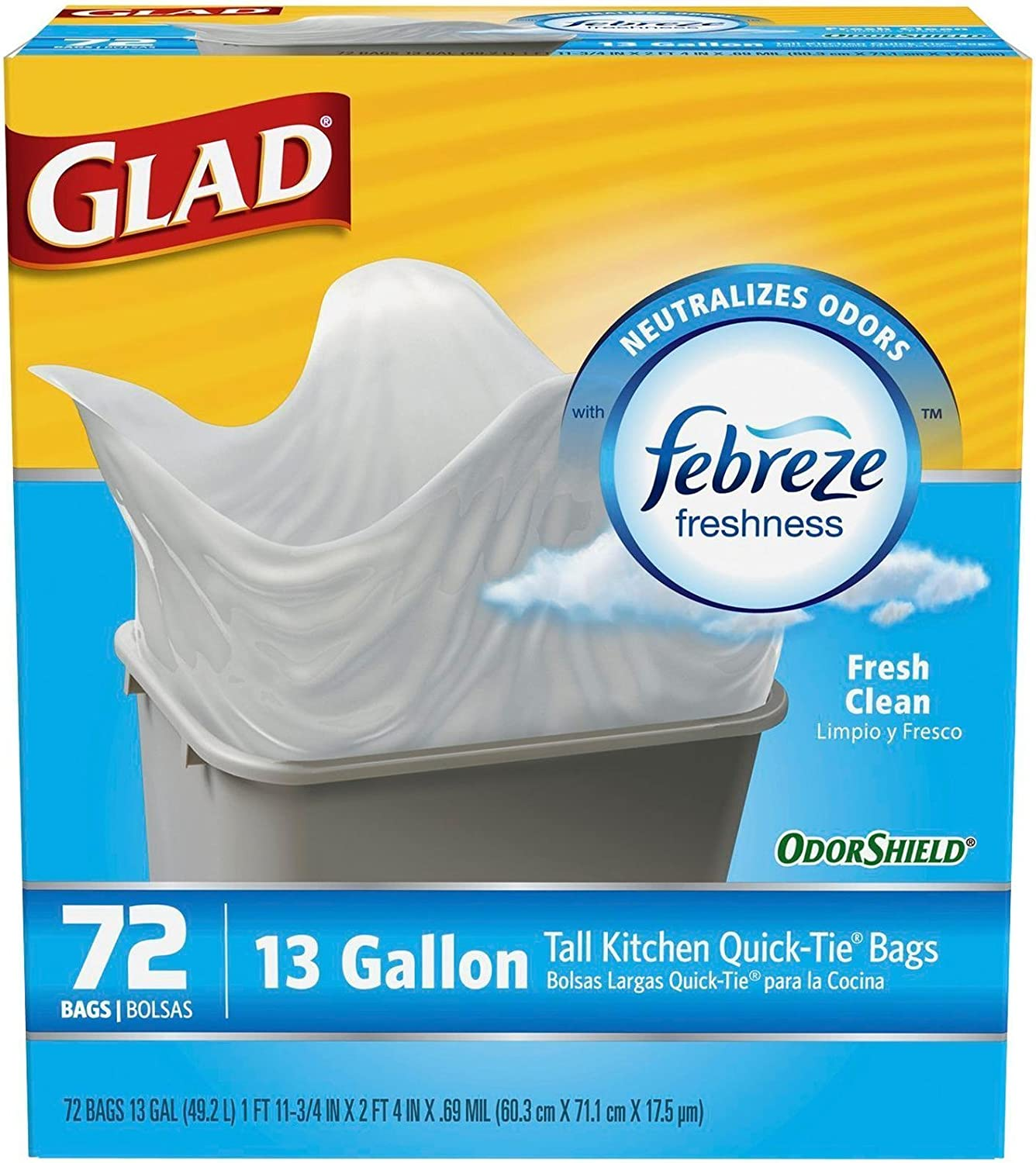 Glad Odorshield Tall Kitchen Quick-Tie Trash Bags - 13 Gallon, Fresh Clean, 72 Count