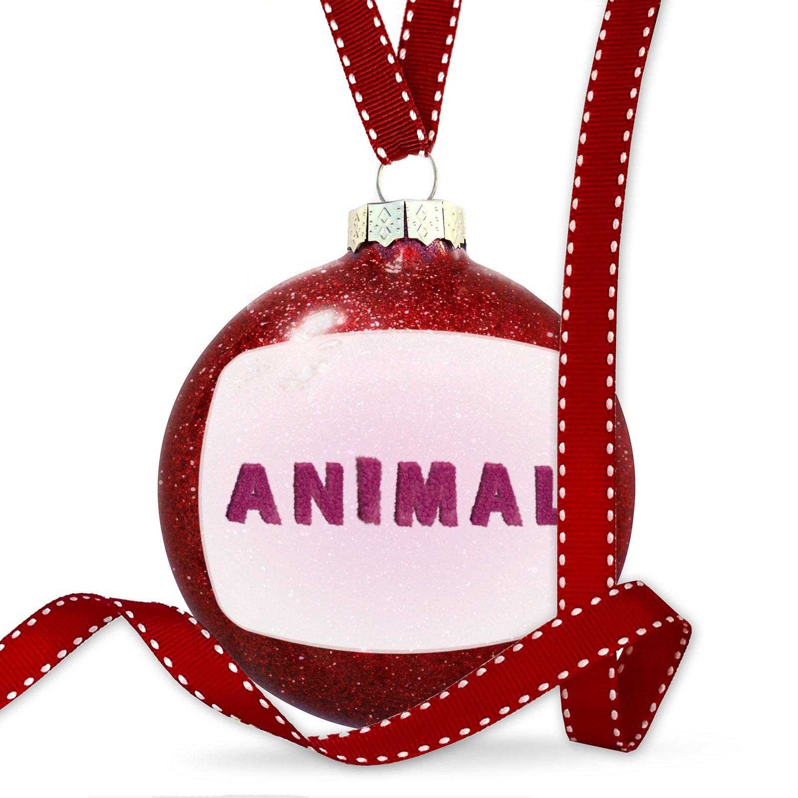 Christmas Decoration Animal Pink Fuzz Fur Letters Ornament