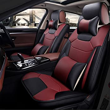 Super PDR 13pcs Bucket Seat Covers Anti Slip Backing PU Leather Car Cushions