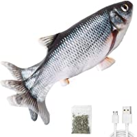 """Potaroma Electric Flopping Fish 10.5"""", Moving Cat Kicker Fish Toy, Floppy Fish Animal Toy for Small Dogs, Wiggle Fish…"""