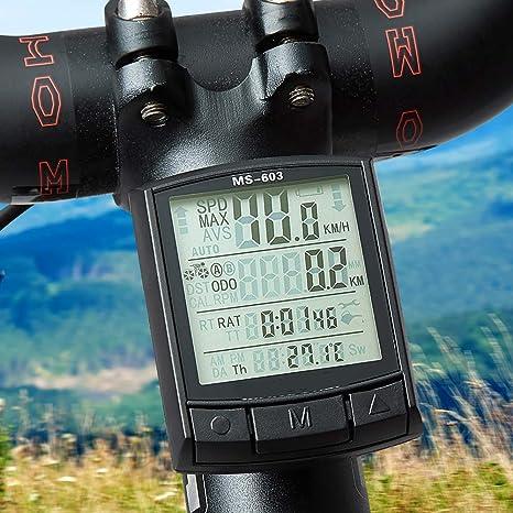Bicicleta Impermeable del Ordenador Inalámbrico Y Alámbrico De MTB Bici del Odómetro del Velocímetro Cronómetro Reloj LED Rate Digital: Amazon.es: Deportes y aire libre