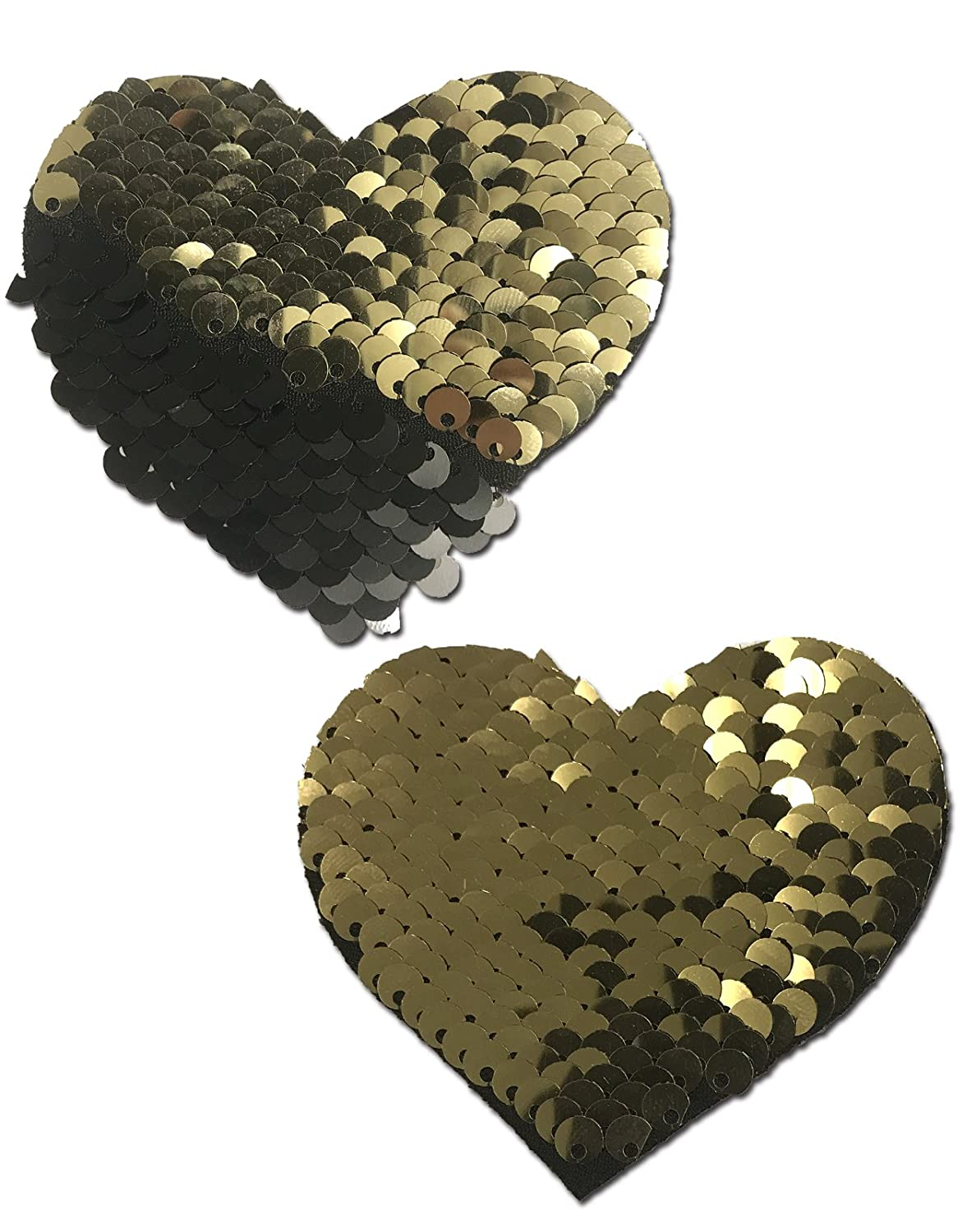 Sweety: Gold & Black Color Changing Sequin Heart Nipple Pasties by Pastease o/s HRT-SQ-GLBK