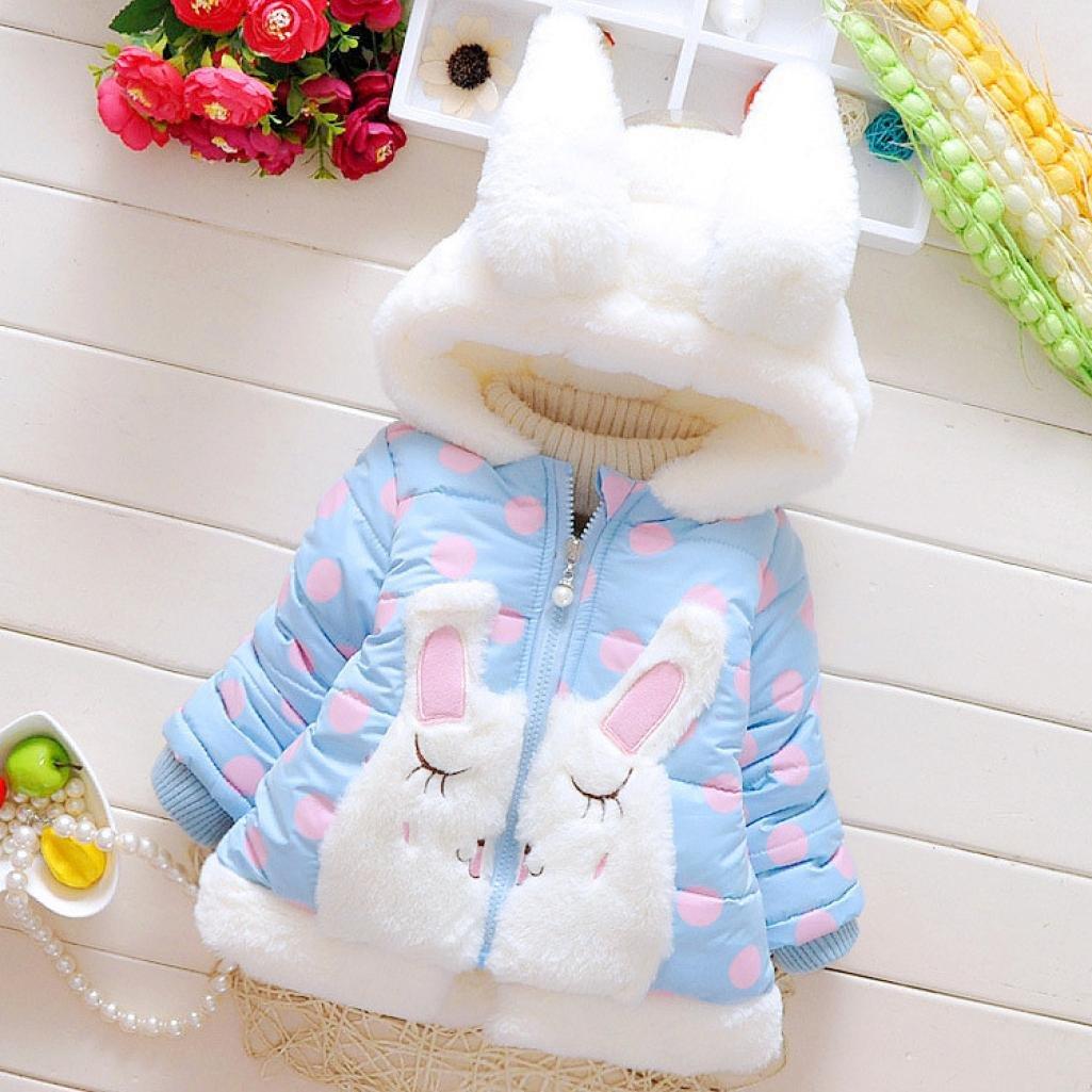 551dbc879 Amazon.com  WensLTD Toddler Girls Cute Rabbit Ear Coat Winter Warm ...