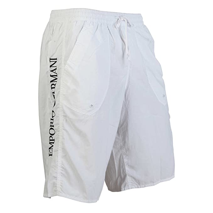 a2327bf060 EMPORIO ARMANI bermuda long board swimwear white - White, XL: Amazon ...