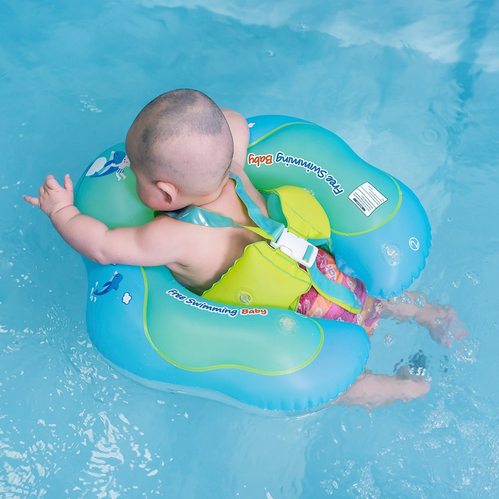 Free Swimming Baby Inflatable Baby Swimming Float Ring Children Waist Float Ring Inflatable Floats Pool Toys Swimming Pool Accessories for The Age of 3-36 Months(Blue, L) by Free Swimming Baby