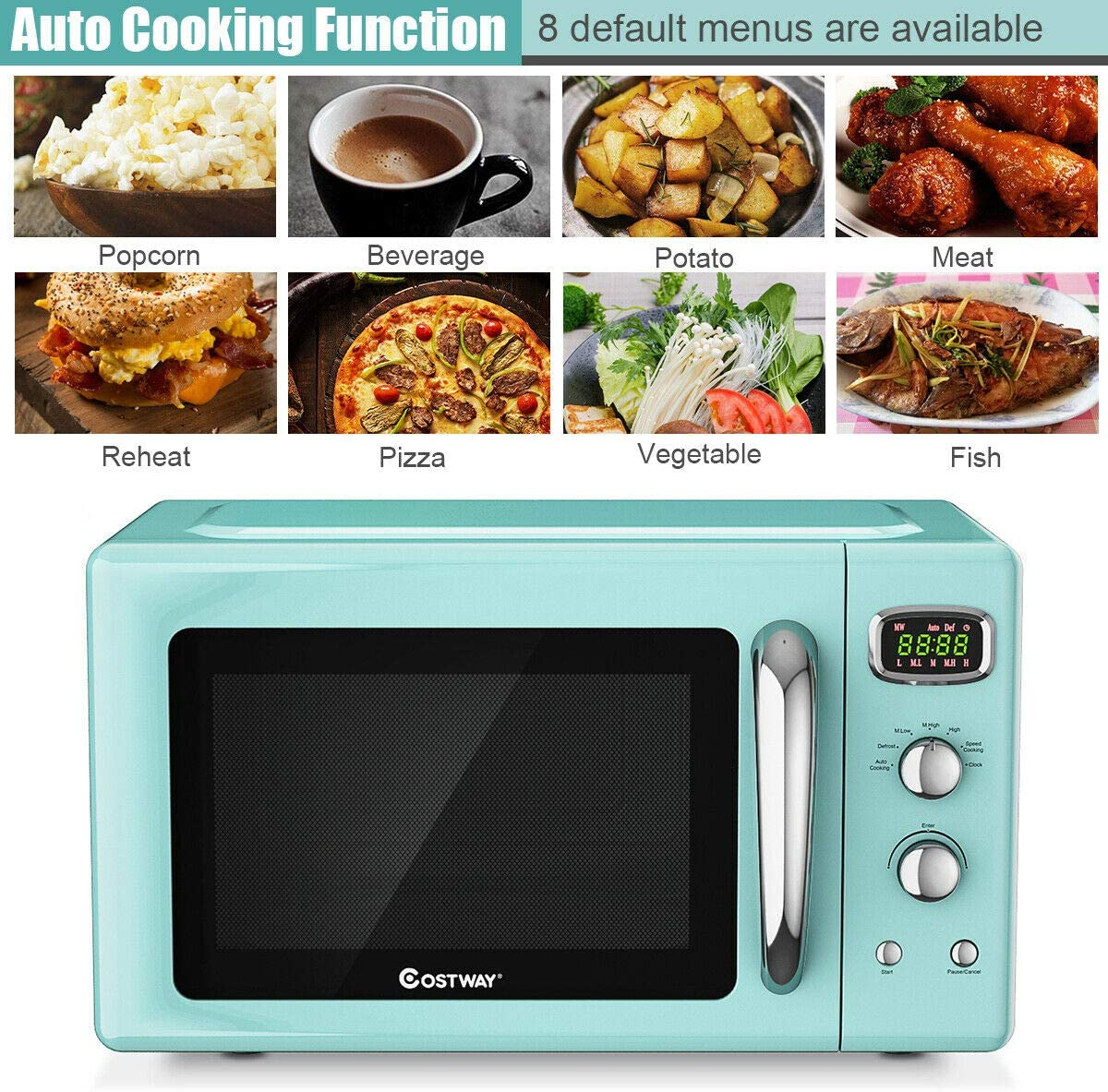 COSTWAY-Retro-Countertop-Microwave-Oven-0.9Cu.ft-900W-Microwave-Oven-with-5-Micro-Power-Defrost-Auto-Cooking-Function