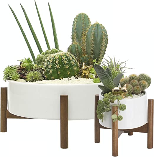 Vintage mid century modern green ceramic succulent planter flower pot Miramar California green ceramic and metal planter holder