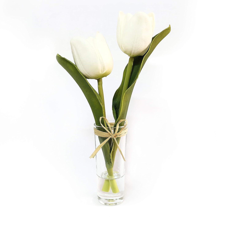 ebuyom Mini flores artificiales ramo de tulipanes en jarrón de cristal, diseño de casa decoración de la boda: Amazon.es: Hogar