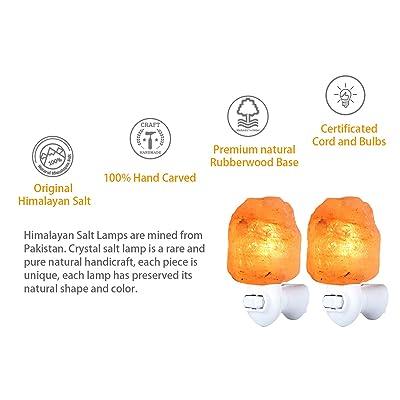 Himalayan Pink Lamps Mini Heart Shape Crystal Salt Lamp Night Light Wall Plugin