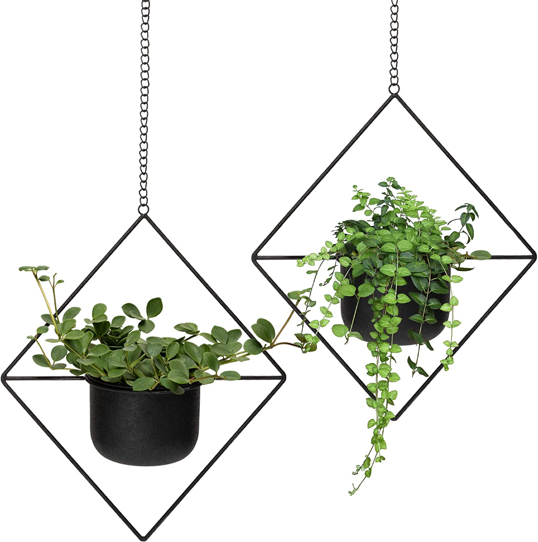Set of 2 Black Geometric Metal Hanging Plant Pot, Decorative Diamond Flower Pot Holder with Planter, Mid Century Cactus and Succulent Planter, Living Room Decor, Black Party & Wall Decoration, Indoor