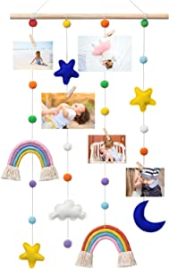 Yehapp Hanging Photo Display, Wall Hanging Picture Organizer with Cute Rainbow and Pom-Pom Ball for Home Nursery Baby Kid Room Bedroom Decor, with 25 Wooden Clips